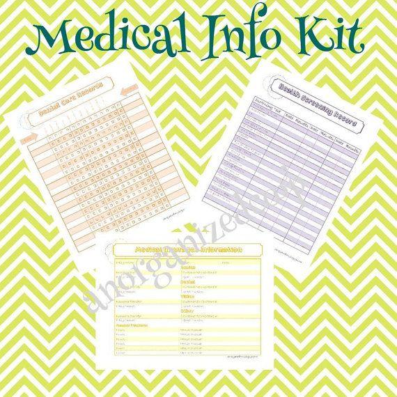 Medical Information Kit 10 Documents. INSTANT Download