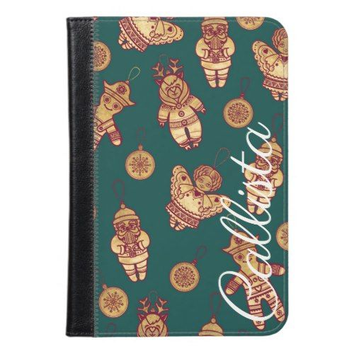Festive Cute Christmas Holiday Gold Red Ornaments iPad Mini Case in
