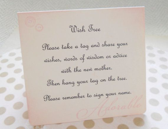 Wish Card Instruction Sign Baby Shower Wish Tree Instructions
