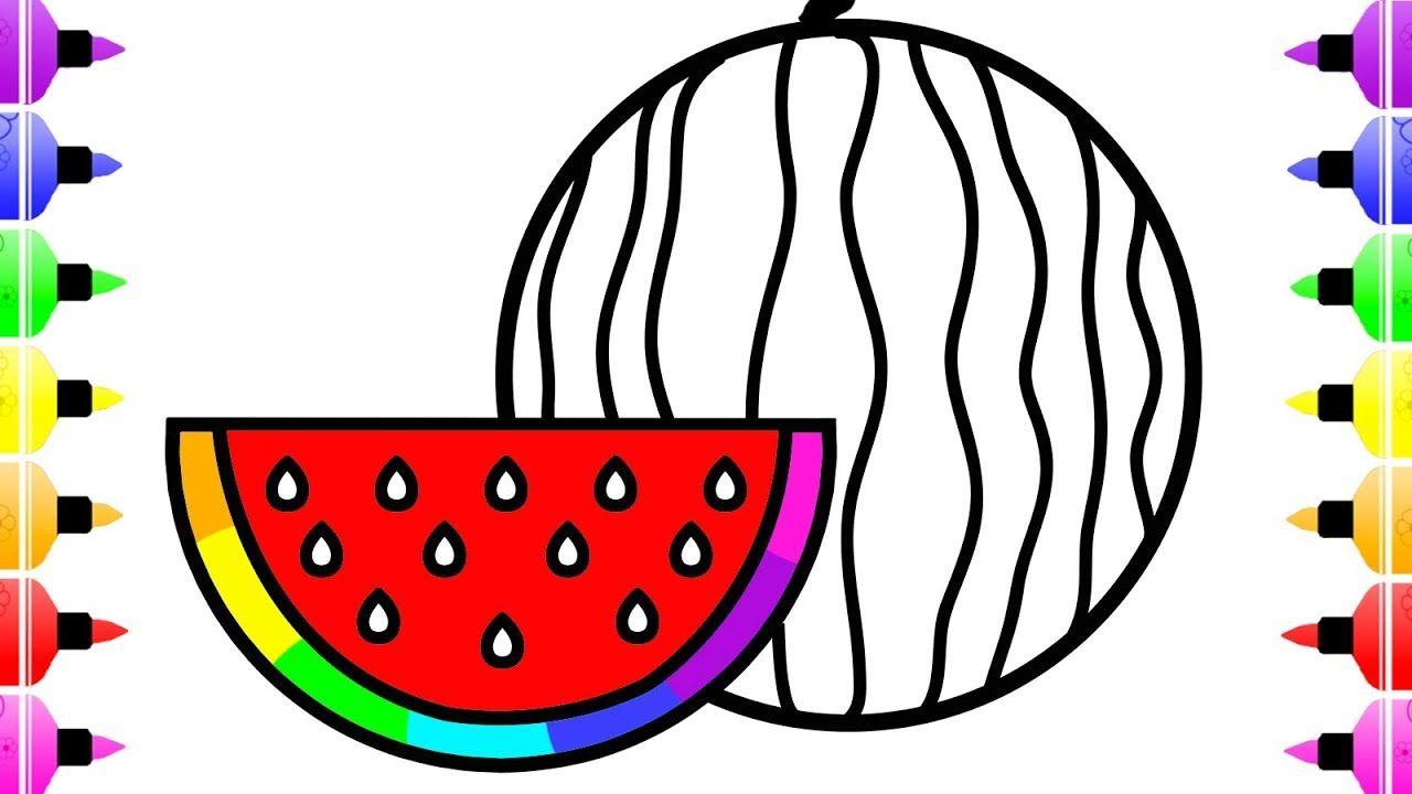 How to Draw Rainbow Watermelon for Kids - Coloring Page for Girls ...