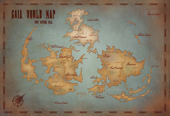 Gaia world map final fantasy vii vintage style art print gaia world map final fantasy vii vintage style art print 13x19inches poster gumiabroncs Images