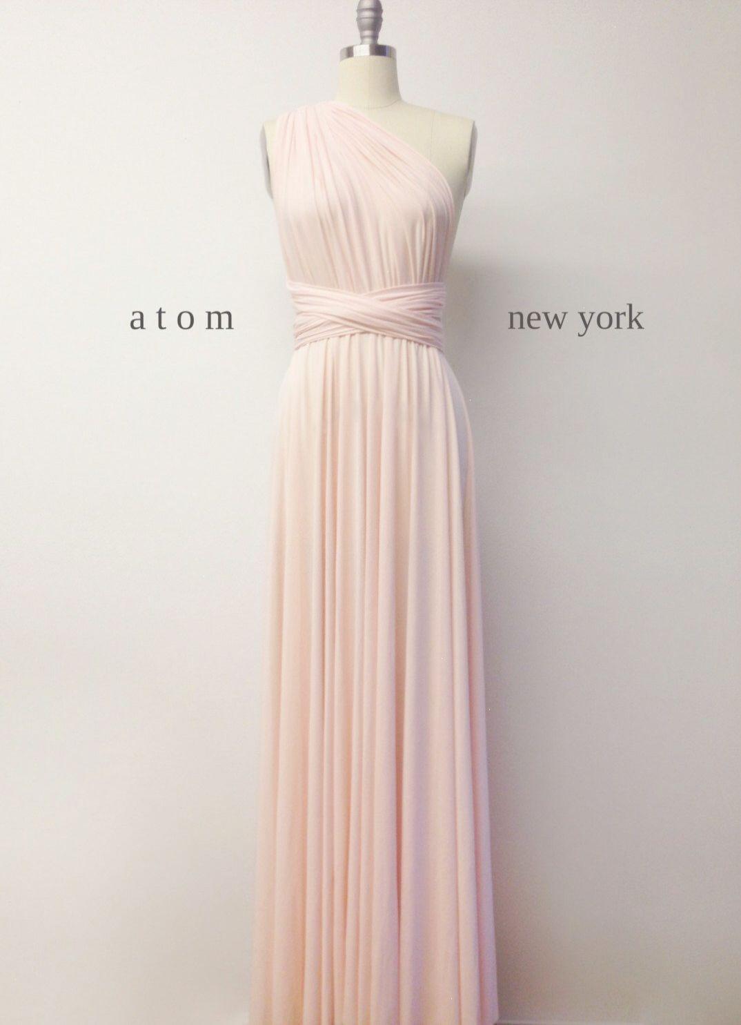 blush pink floor length ball gown long maxi infinity dress