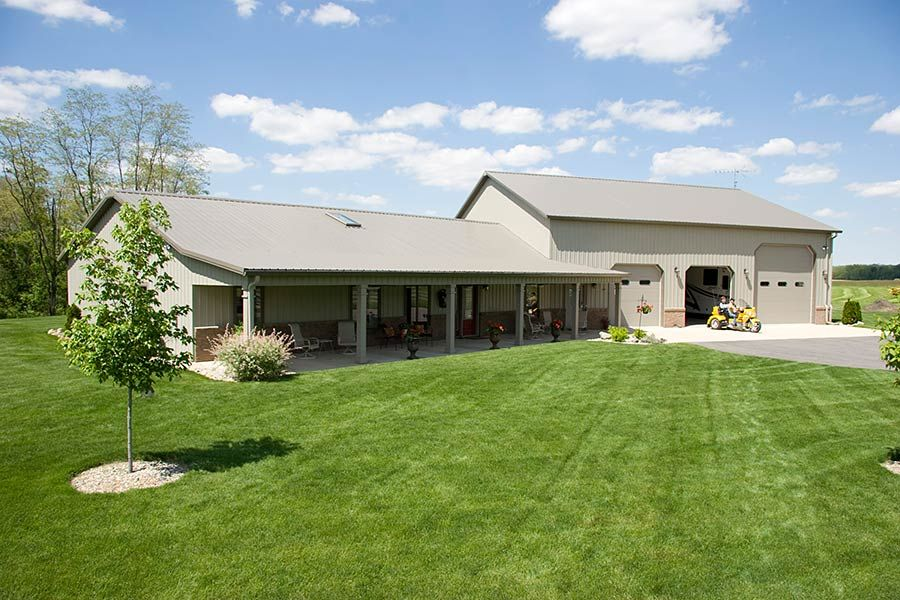 Pole barn home with heated garage lafayette indiana Metal pole barn homes plans
