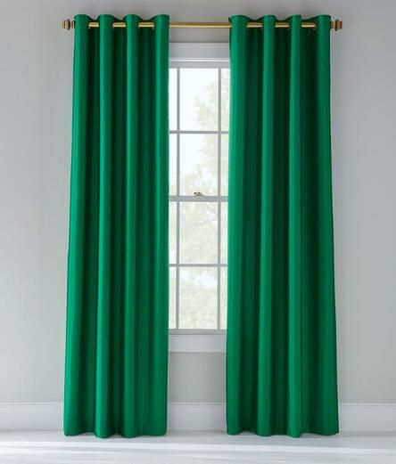 Jasper Faux Silk Lined Grommet Curtains Pair Emerald