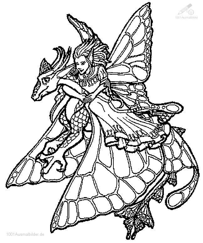 adult coloring pages mystiocal | Fairies And Dragons ...