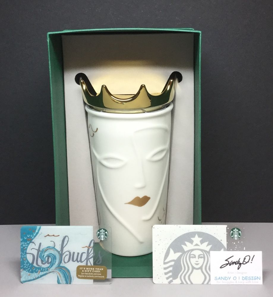 Starbucks SIREN with GOLD CROWN Traveler (2016) NEW & (2) Gift Cards/No Value #Starbucks