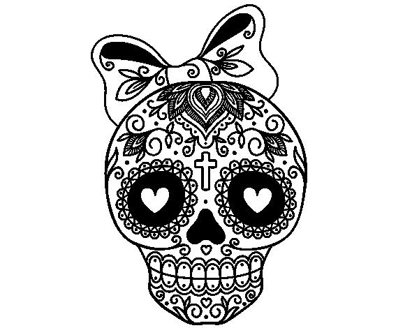 Dibujo de Calavera mejicana con lazo para colorear … | obra de ...