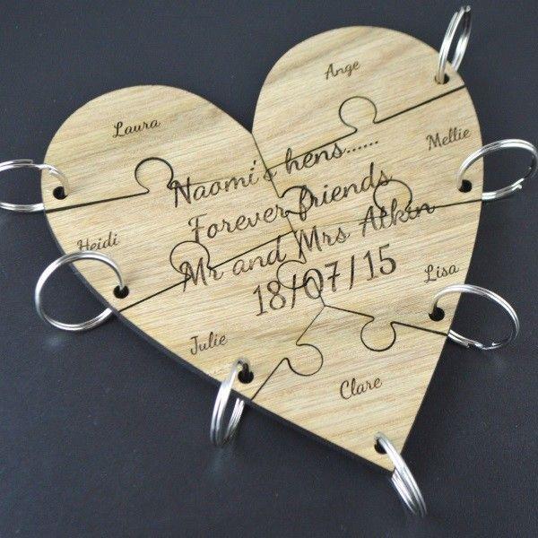 Unique Wedding Gifts For Best Friend: Personalised Best Friend Jigsaw Piece Keyring Heart Set