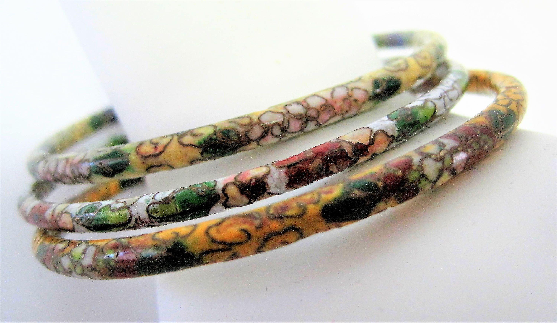 Cloisonne Bracelet Set Of 3 Bangles Rainbow Flower Designs Vintage Asian Bracelets