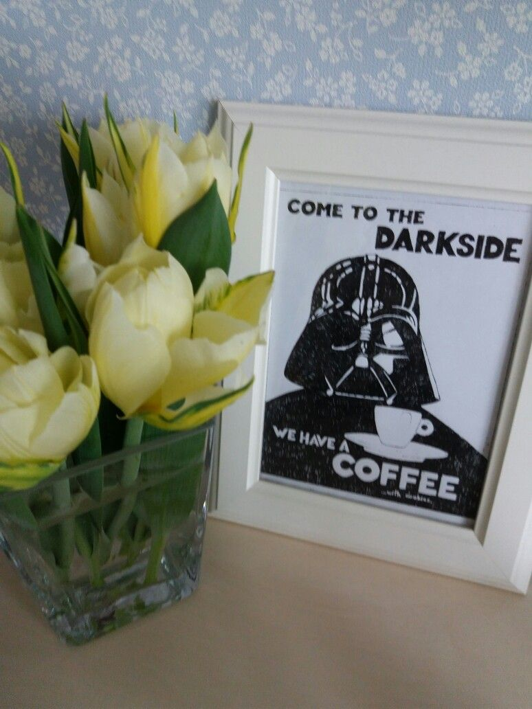 Come to the darkside we have a coffee with cookies... Nice day with tulipes 🌷