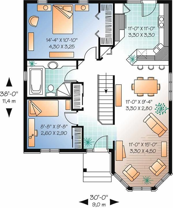 Bungalow Home Plan 2 Bedrms 1 Baths 994 Sq Ft 126 1671 House Plans Bungalow House Plans Unique Floor Plans