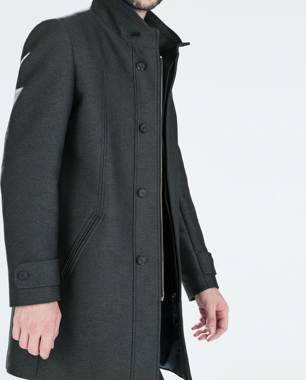 Image 1 Of Diagonal Funnel Neck Coat From Zara Mantel
