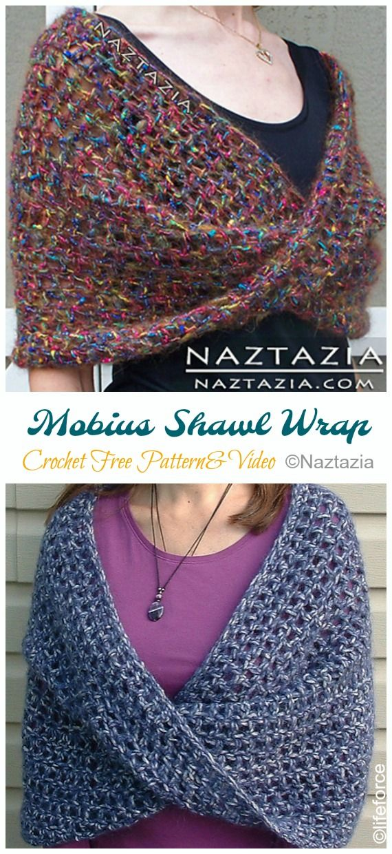 Mobius Shawl Wrap Crochet Free Pattern [Video] - Crochet & Knitting