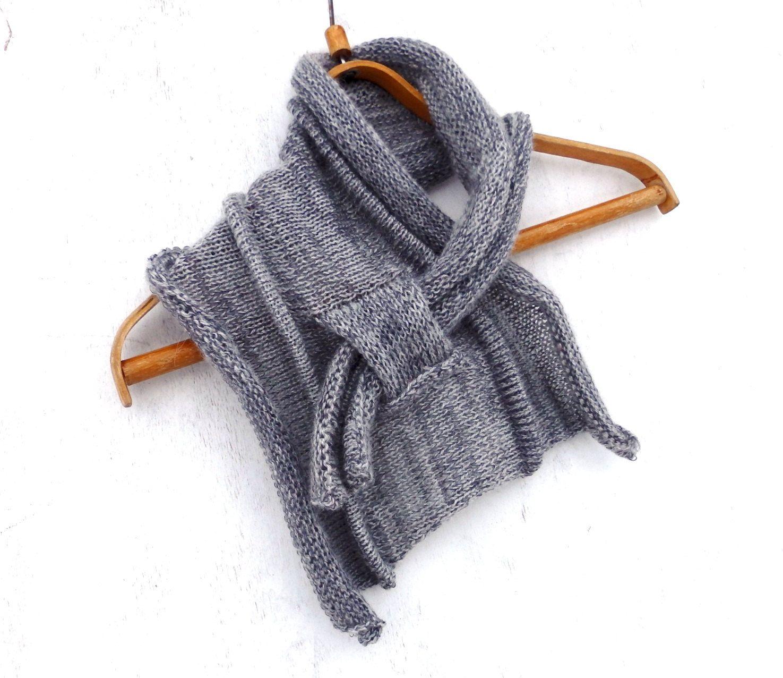 Knit scarf, knitted cowl scarf, knitting gray neck warmer, women men shawl,