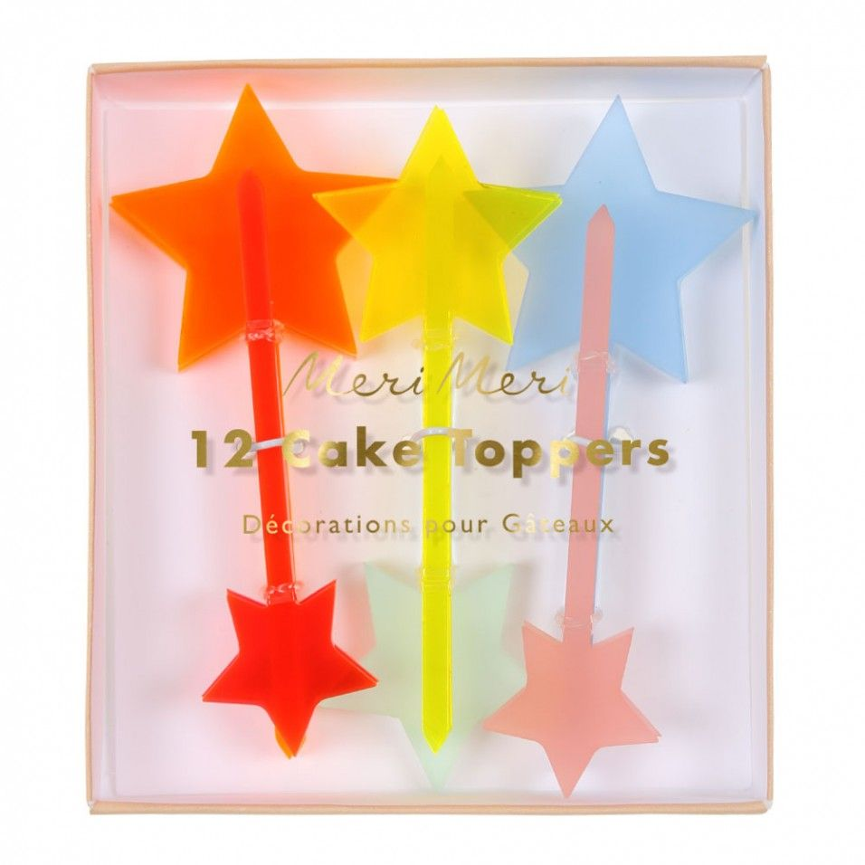 Multi star cake toppers - set of 12