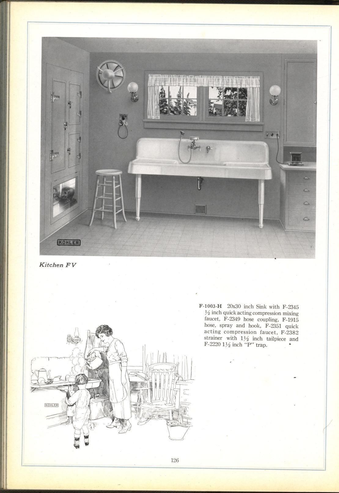 1922 Kitchen Illustration Kohler Enameled Plumbing Ware Catalog