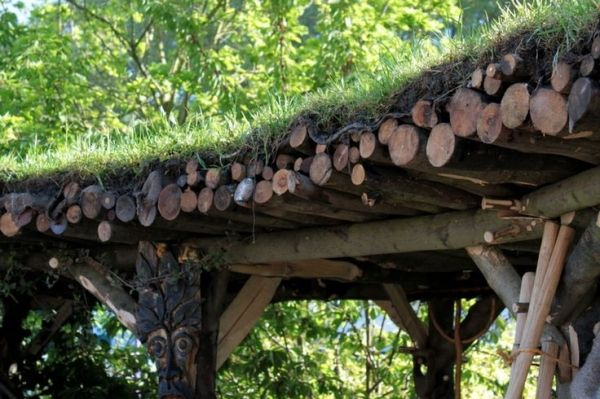 Rustic Pergola With Green Roof Made With Sawn Branches Rustic Pergola Outdoor Pergola Pergola