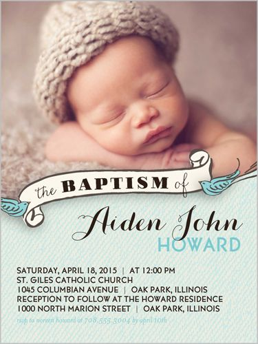 birdie baptism boy 4x5 invitation baptism invitations baptism