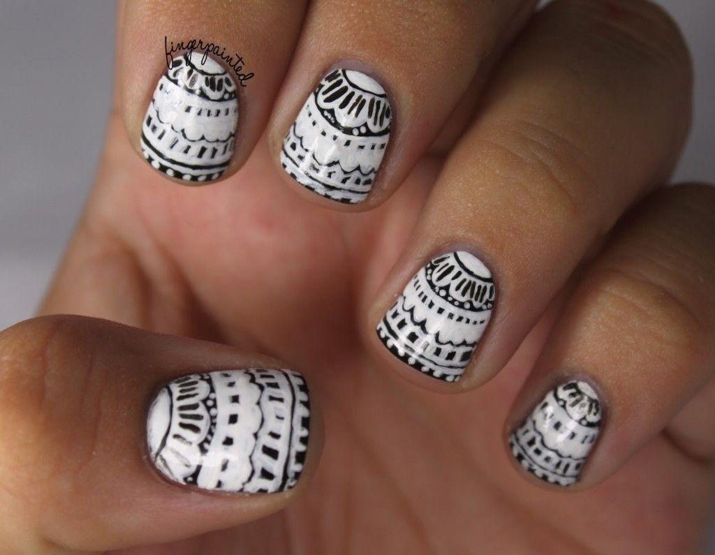 60 Examples of Black and White Nail Art   Lace nail art, Lace nails ...