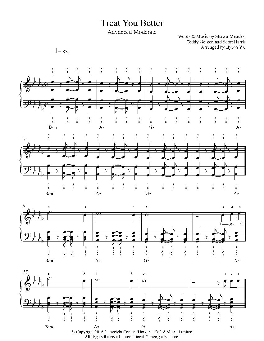 Treat You Better By Shawn Mendes Piano Sheet Music Advanced Level Sheet Music Piano Sheet Music Clarinet Sheet Music