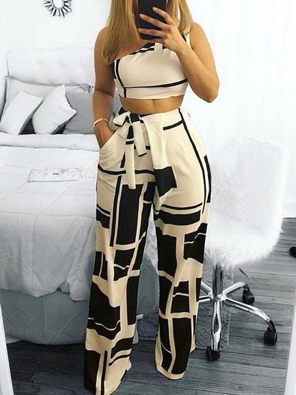 Juego De Pantalones Anchos Recortados En Hombros Colorblock Conjunto Pantalones Elegantes Ropa De Moda Y Pantalones De Moda
