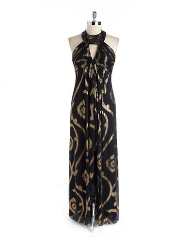Women's Apparel | Formal/Evening | Foil Print Halter Gown | Lord and Taylor