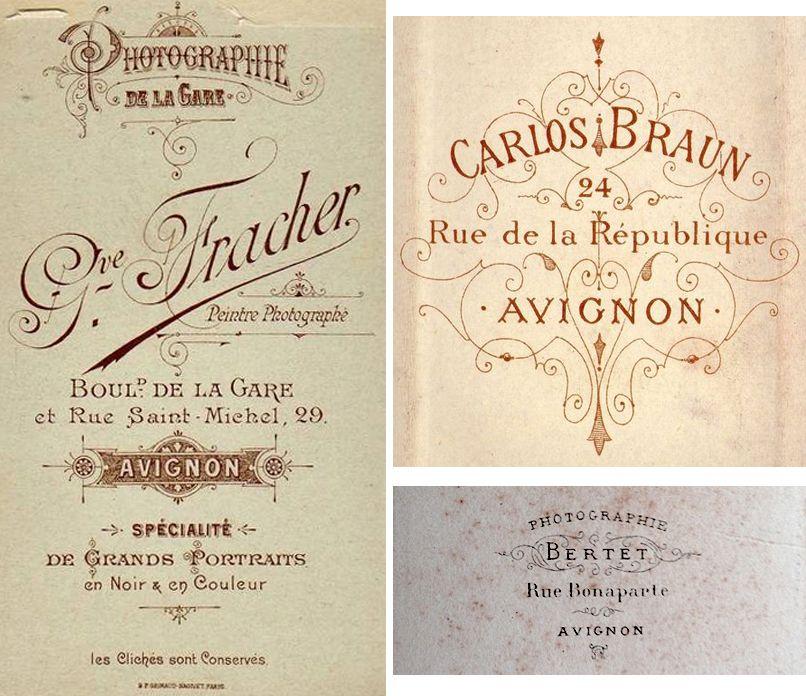 Trois photographes d'Avignon :  BERTHET ------------------------  BRAUN Carlos ------------------  FRACHER Gve ------------------