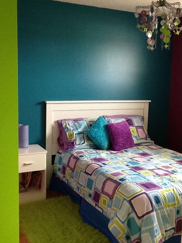 Bedroom - green/blue/purple   Green bedroom walls, Purple ...