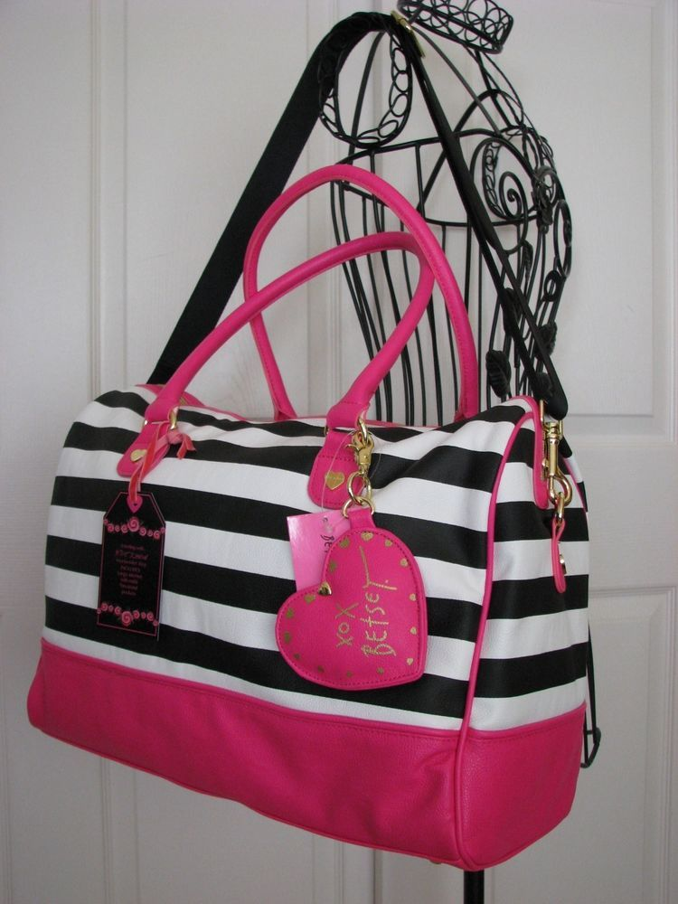 8f7040724226 Betsey johnson black   white stripe pink heart weekender travel bag ...
