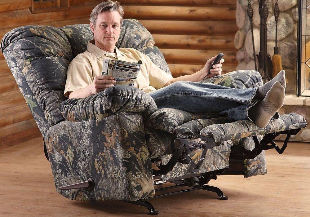 Recliner Rocker Big Man Heated Massage Chair Camo Mossy Oak