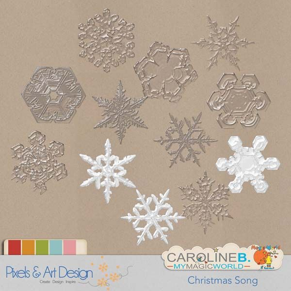 """#PixelsAndArtDesign - Christmas Song Snowflakes 12 snowflakes for your joyful Christmas page !  Matched with my complete """"Christmas Song """" series.               Caroline B. Laurens's Slidely by  Slidely Slideshow        Buy Now http://www.pixelsandartdesign.com/store/index.php?main_page=product_info&products_id=1858"""