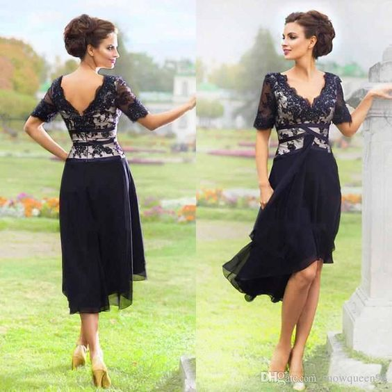 New Navy Blue 2016 Elegant Country Mother Of The Bride Dresses With Half Sleeves V Neck