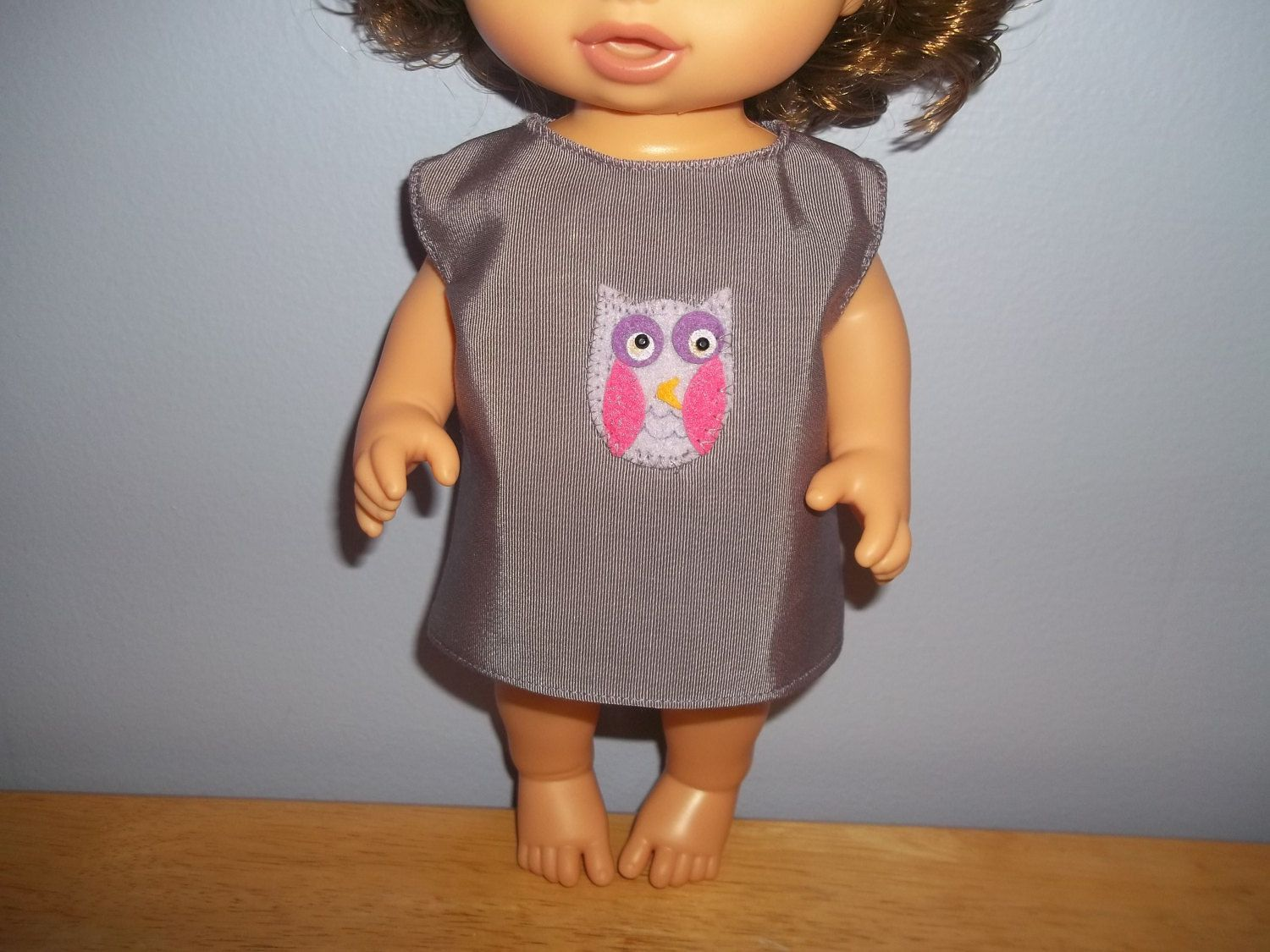 Baby 12 inch Alive doll handmade dress purple with Owl on it by sue18inchdollclothes on Etsy