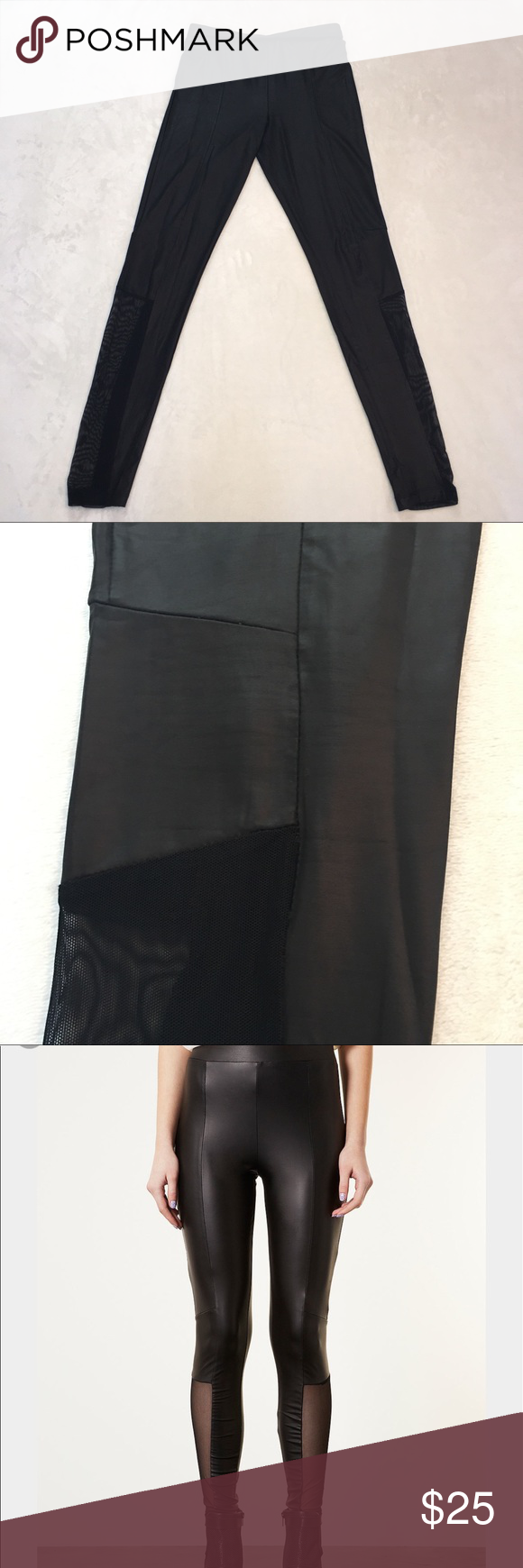 "Topshop Black Mesh Panel Wet Look Leggings Nice stretch leggings with elastic waist in excellent condition. Material - 93% Polyester 7% Elastane. Measurements (approximate) - Inseam 29"" Waist (lying flat) 13-1/4"" Rise 10-1/2"". T5 Topshop Pants Leggings"