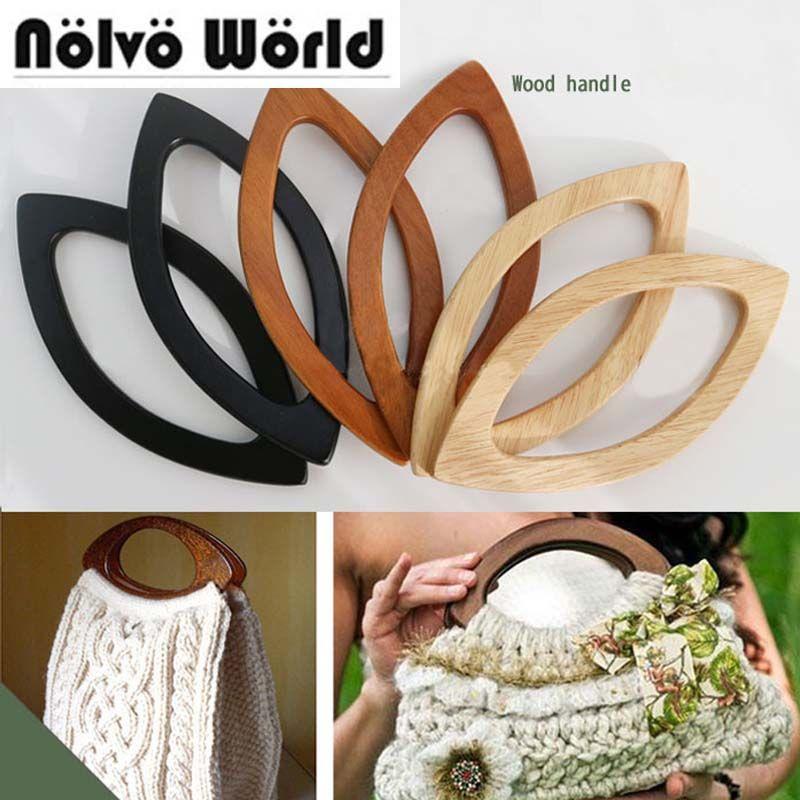 tote pink bag Pouch purse Crochet bag wooden handle