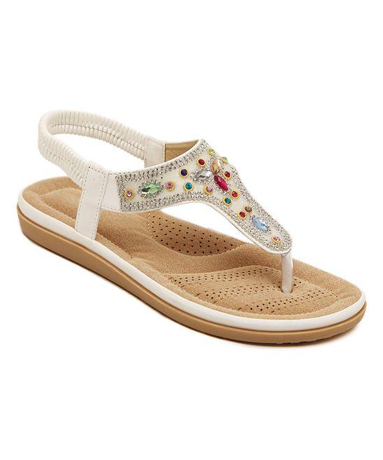 03f76b3653ff53 White Rainbow-Embellished Leather Sandal