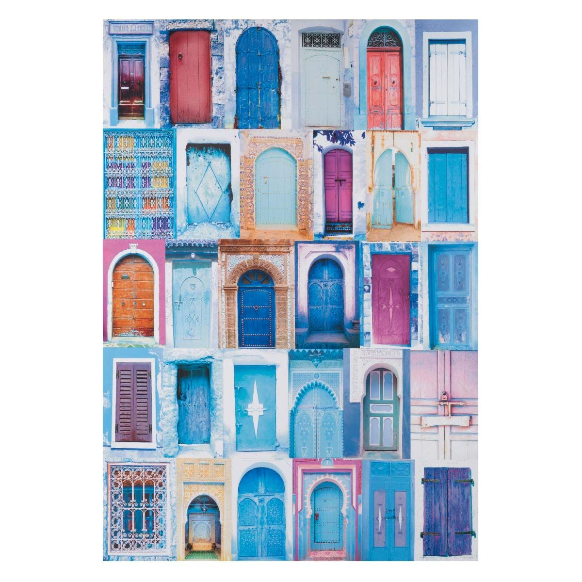 Toile Portes Bleue 60 X 87 Cm Chefchaouen Image De