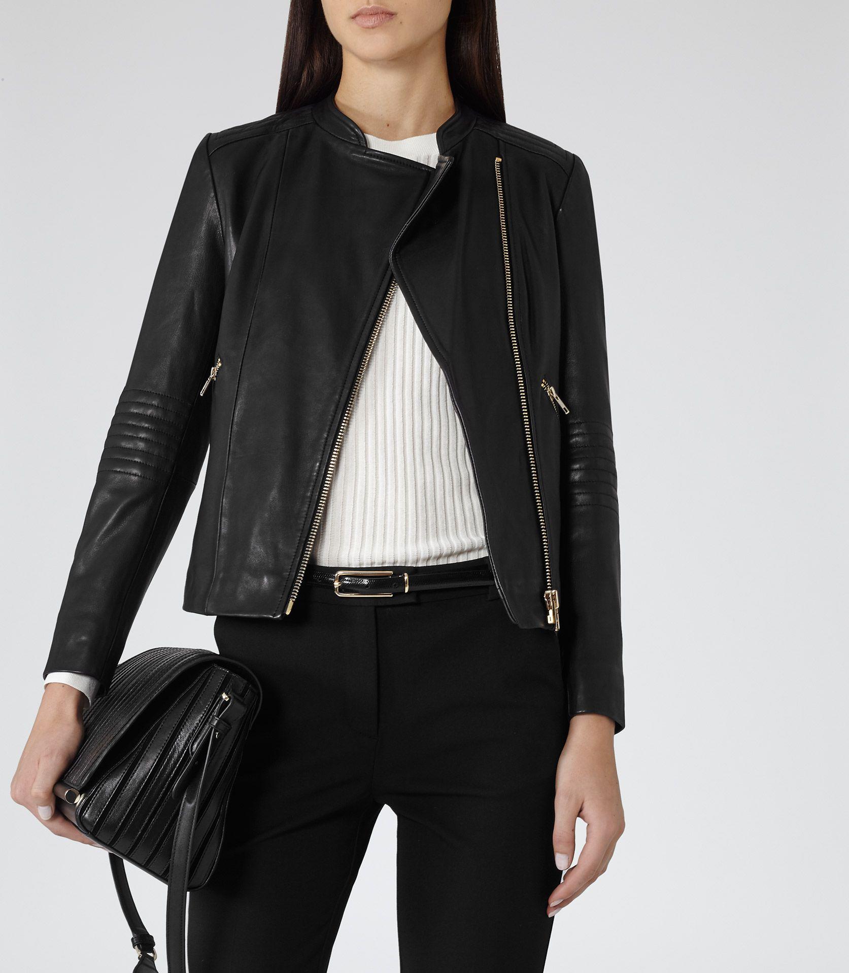 Womens Black Collarless Biker Jacket - Reiss Anna | Fashion ...