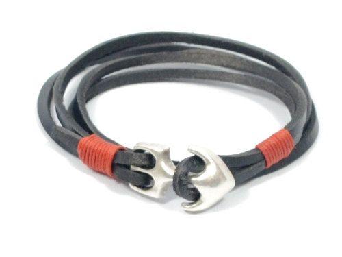black anchor bracelet for men * mens leather bracelet * unisex anchor bracelet * mens jewelry * gifts for dad * silver bracelet