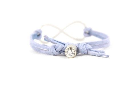 Infinity Light Blue Suede and Silver Rhinestone by MesaBlue