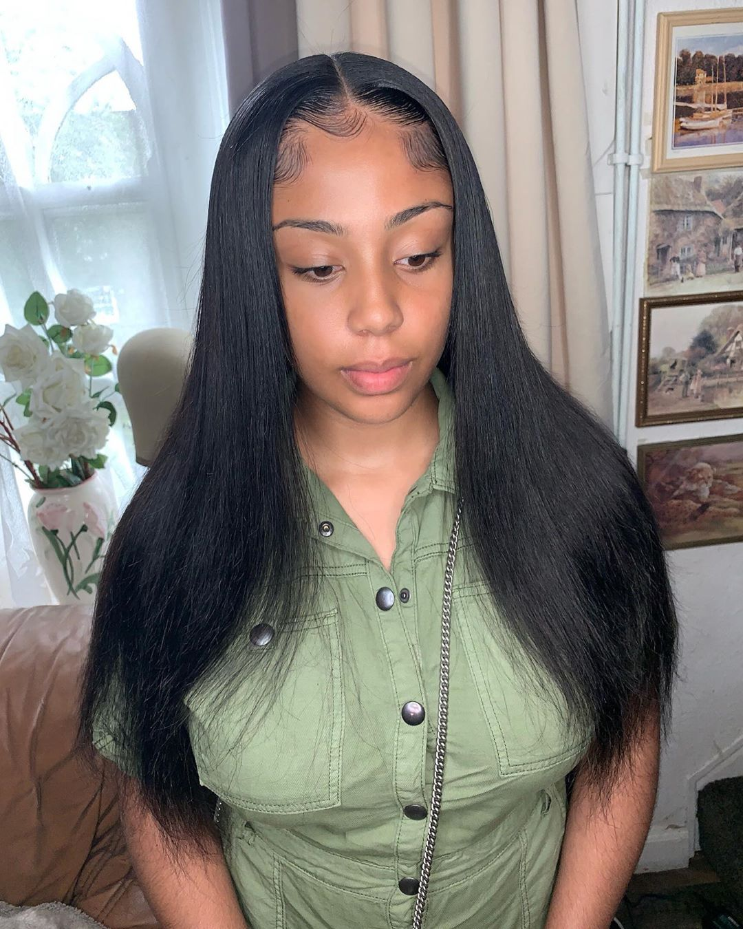 Middle Part Sew In Straight Hairstyles Hc Hair Hair Styles
