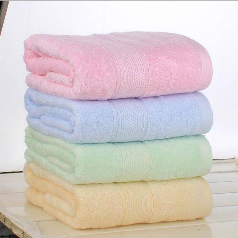 new 140x70cm 2755 bamboo fiber bath towel solid pink soft towel - Pink Bathroom Towels