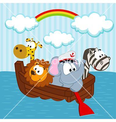 Animals In The Boat Vector Image On Vectorstock Boat Vector Character Design Downloadable Art