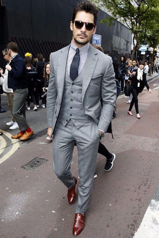 Click to Buy << 2017 Mens Tuxedos Custom Made Light Gray Grooms ...