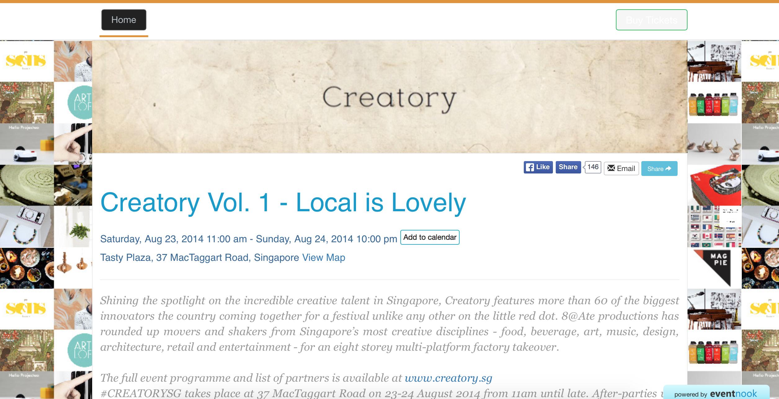 EventNook event registration site - Creatory Vol. 1 2014