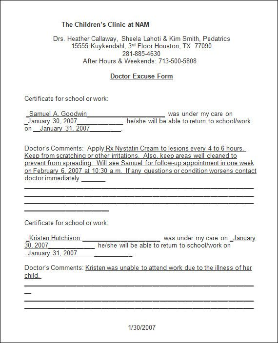 Sample Doctor Note - 30+ Free Documents In Pdf, Word | Fake