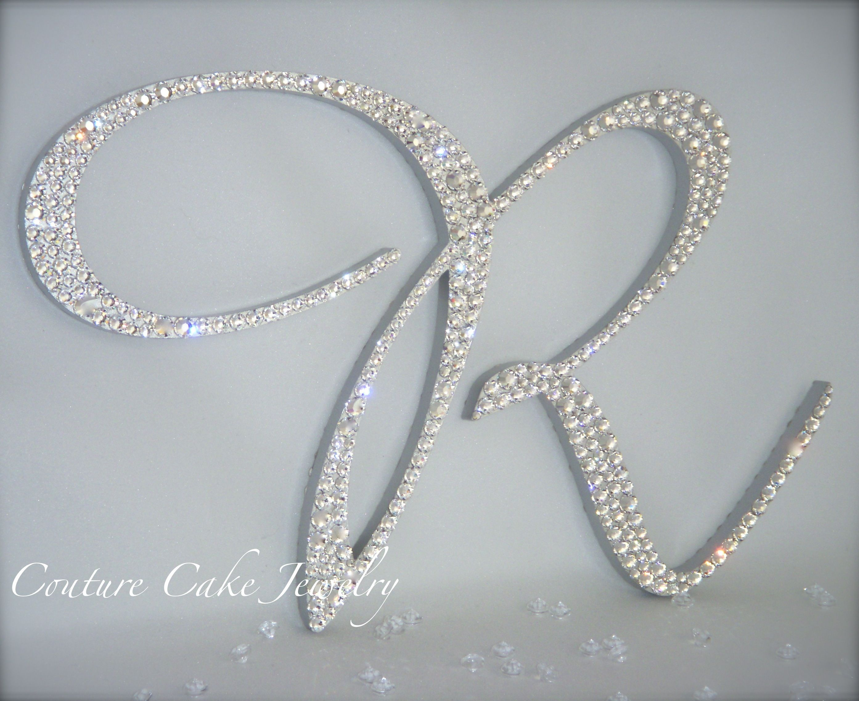 Crystal Monogram Cake Topper shown with Acrylic Diamond confetti ...