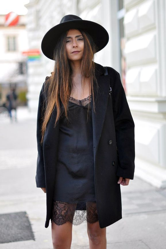 3a3cc865b54 With a wide brim hat and classic pea coat. Consider this a go-to fall look  that ll take you from day to evening—a slip dress paired with a cool pea  coat and ...
