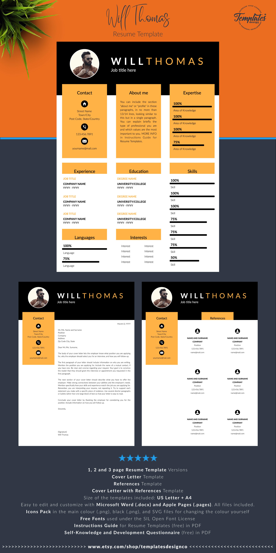 Creative Modern Resume Template With Photo Professional Cv Etsy Resume Design Resume Design Template Cv Design