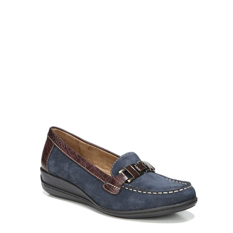 d6f2f834109 Natural Soul Women s Wilson Medium Wide Loafers (Navy)